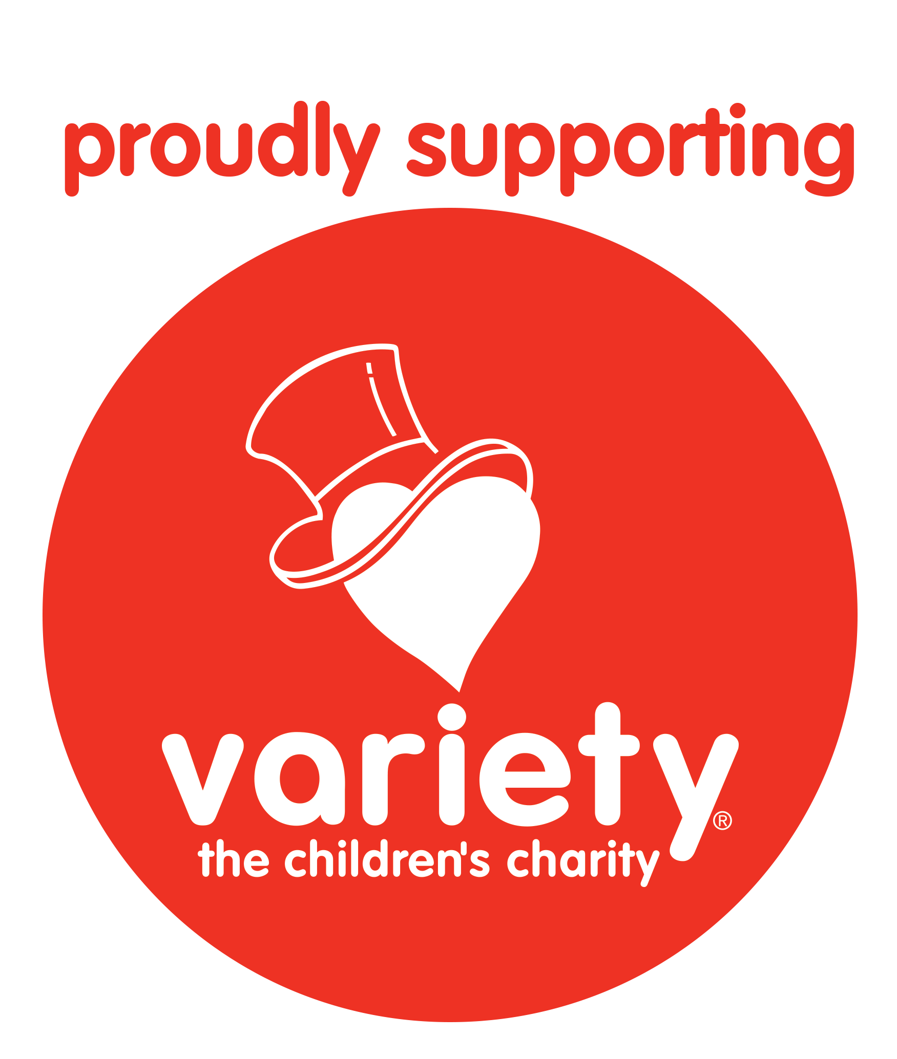 Proudly supporting Variety logo - red